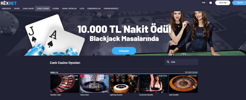 Rexbet Canlı Casino